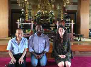 Gautham Prabhu with Rev. Ryojun Sato, a leading expert in Indian Buddhism in Japan, and Camille Rullan, IBEC/JNEB's first intern from Princeton University